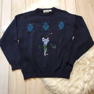 Vintage Izod Men's Navy Blue Golf Graphic Sweater